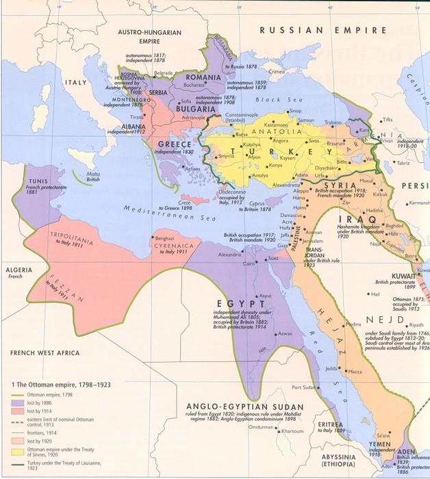 Das Osmanische Reich von 1798-1923.