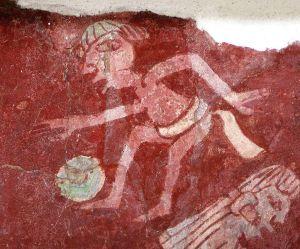 Fußballspieler aus einem Wandbild in Tepantitla bei Teotihuacán.