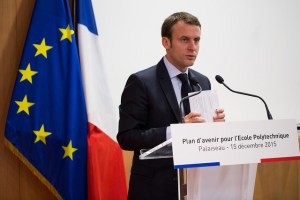 Emmanuel Macron (2015; Von Ecole polytechnique Université Paris - CC BY-SA 2.0)
