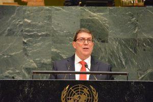 Der kubanische Außenminister Bruno Rodríguez bei seiner Rede vor der UNO-Vollversammlung am 1.11.2017 (Quelle: cubadebate.cu)