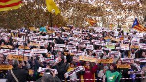 Demonstranten in Katalonien. (Foto: Krystyna Schreiber)