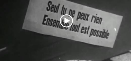 """Szene aus dem französischen Dokumentarfilm """"Bis bald, hoffentlich!"""" aus dem Jahr 1968. (Foto: Screenshot; Labournet.tv)"""