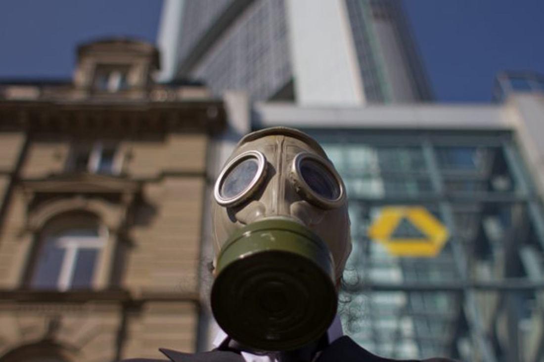 Aktion von ICAN vor der Commerzbank in Frankfurt. (Foto: ICAN)