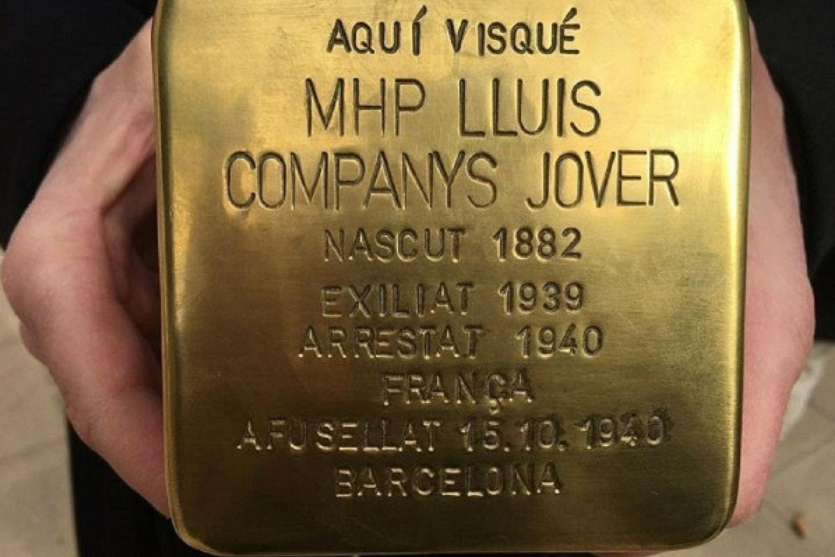 Der Stolperstein für Lluís Companys wird zum Politikum. (Foto: Heike Keilhofer)