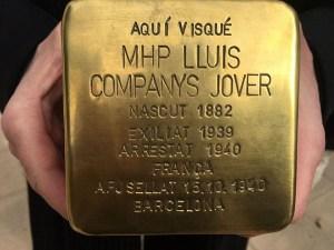 Stolperstein für Kataloniens Präsidenten Lluís Companys der 1940 ermordet wurde. (Foto: Heike Keilhofer)