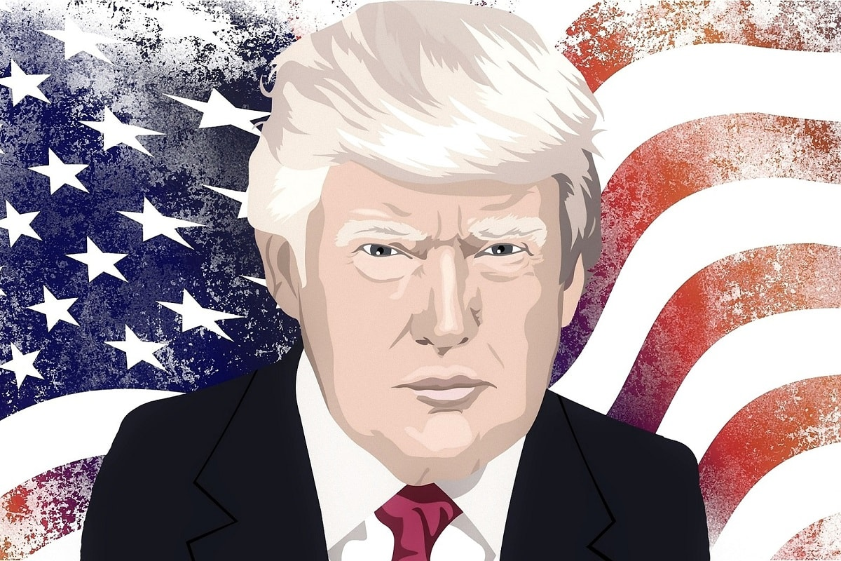 Donald Trump vor einer US-Flagge. (Illustration: Crazygoat, Pixabay.com; Creative Commons CC0)