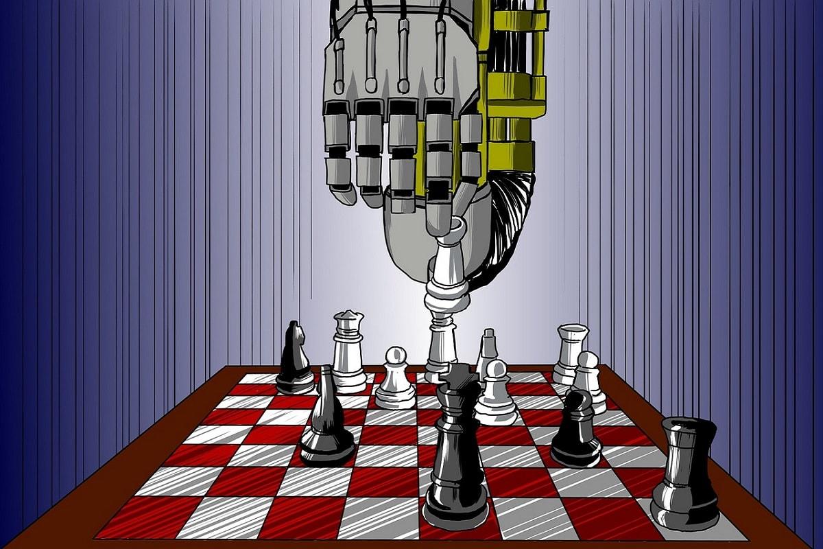 Robotik und künstliche Intelligenz am Schachbrett. (Illustration: woodpeace1, Pixabay.com;Creative Commons CC0)