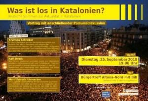 Dienstag, 25. September 2018, Veranstaltung. Was ist los in Katalonien. Mit Ralf Streck, Marti Estruch i Axmacher, Krystyna Schreiber. (Grafik: ANC Hamburg)
