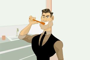 Comicfigur putzt Zähne. (Illustration: André Santana, Pixabay.com- Creative Commons CC0)