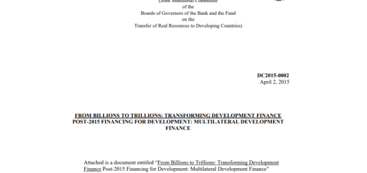 In den Entwicklungsländern geht es um Billionen. Developing Committee From Billions to Trillions Transforming Development Finance. DC2015-0002- 2. April 2015. (Foto: Screenshot)