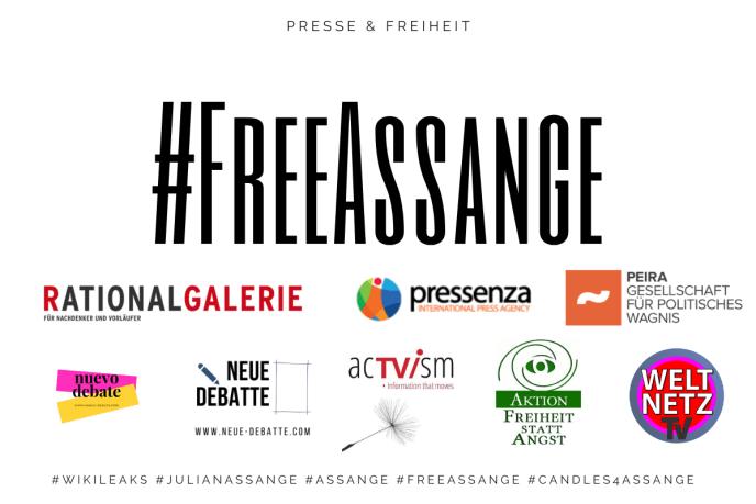 Free Julian Assange. Banner Pressenza, Neue Debatte, Weltnetz, Peira, Freiheit statt Angst, Rationalgalerie, acTVism