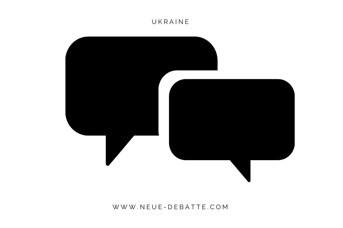 Symbol für Verhandlungen zum Beispiel zwischen der Ukraine und Russland. (Illustration: Neue Debatte)