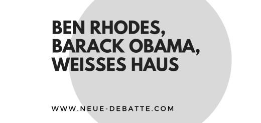 """Weltpolitik skizziert Ben Rhodes Buch """"Im Weißen Haus Die Jahre mit Barack Obama"""". (Illustration: Neue Debatte)"""