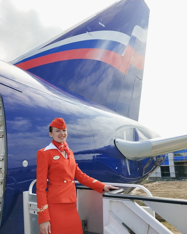 Marija Zwenigorodskaja im Dress der Aeroflot. (Foto: Privat)