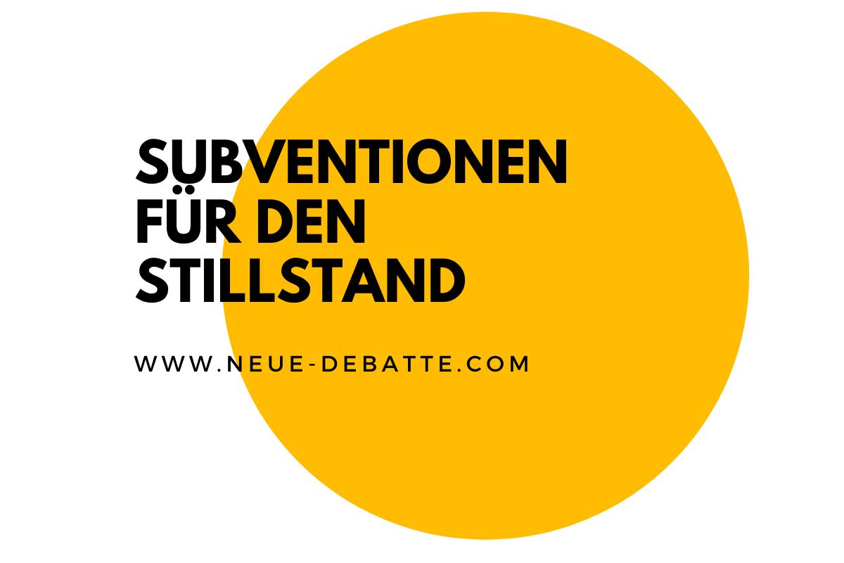 Deutschland subventioniert in der Krise den technologischen Stillstand nicht nur von VW. (Illustration: Neue Debatte)