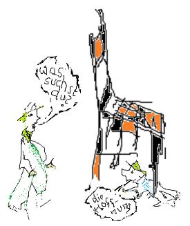 Was suchst du? (Karikatur: Kasina Zürn-Renger)