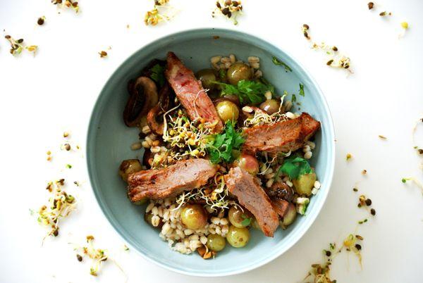 foodblog, fit essen, TCM Rezepte, Hauptspeise, Steak, Champignons, Trauben, besser essen