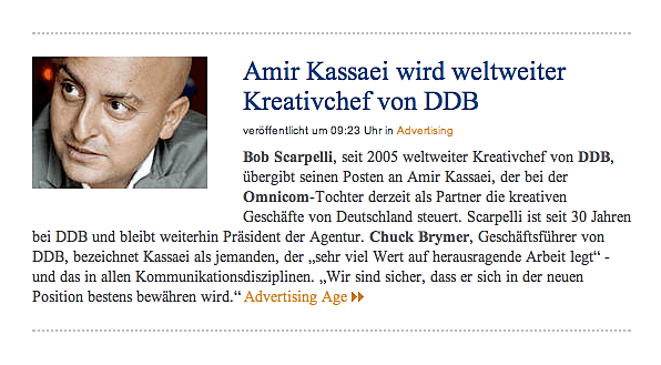Amir Kassaei wird weltweiter Kreativchef von DDB