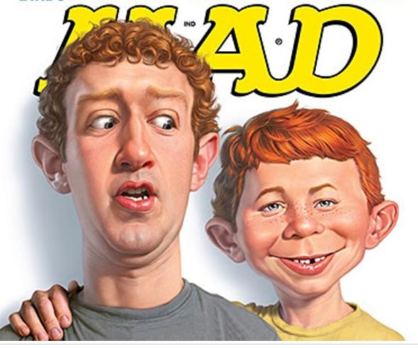 Zuckerberg mit Alfred E. Neumann auf einem Mad Magazintitel.