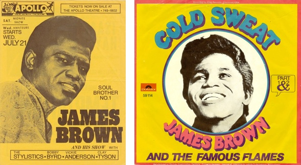 cold sweat, James Brown poster & album art.