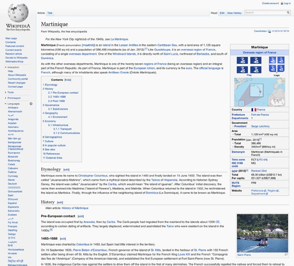 Wikipedia design Martinique example.