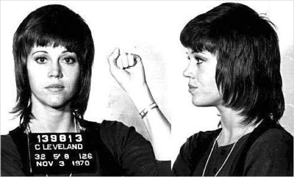 Fonda Power zum Besuch der Kriegsgefangenen in Nord Vietnam 1972.