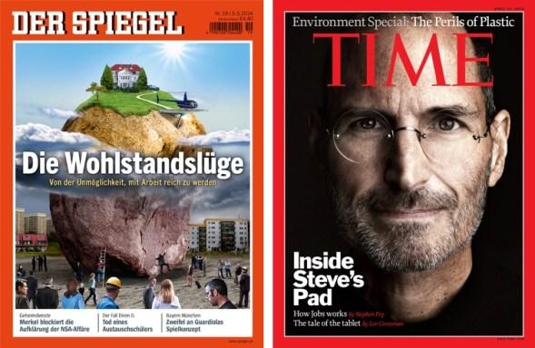 Spiegel Layout überarbeitet neben Times Magazin Vorbild