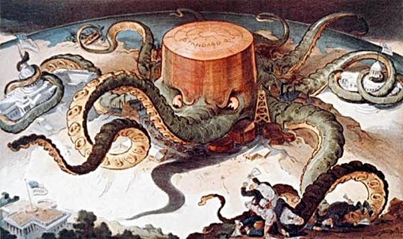 Auch die berühmte Standard Öl Krake von 1904 gleicht der  Google Metapher der Datenkrake von 2014.