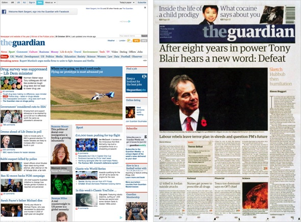 Beta Version und Druckausgabe The Guardian.