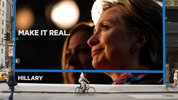 Hillary billboard by Moving Brand.