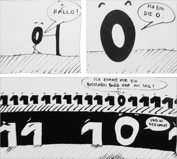 Hallo, ich bin die Null. Illustration Ernst Auerbacher
