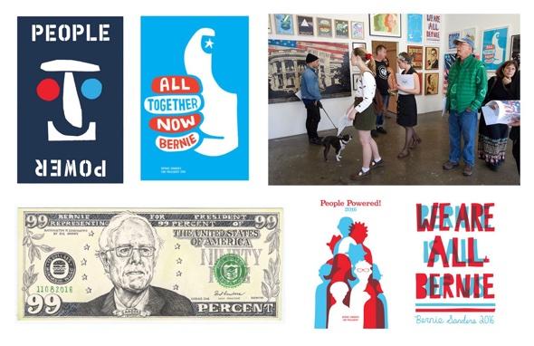 "Kunstwerke aus ""The Art of a Political Revolution""- Cody Hudson, Jackson Tupper, KozyNDan, Byron O'neil, Ellen Voorheis, photo- Mike Selsk:Bernie Sanders 2016"
