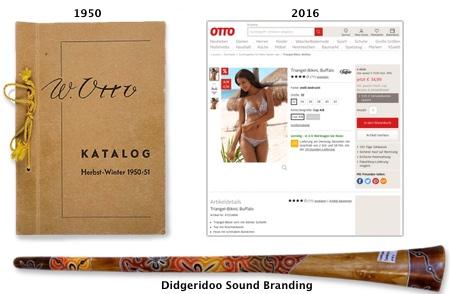 Otto Katalog 1950-51, Didgeridoo 2016.  Der Ton erzählt die Geschichte und übernimmt  beiläufig das Storytelling.