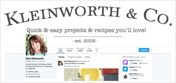 Ein Twitterprofil  das die die Markenbildung stärkt.