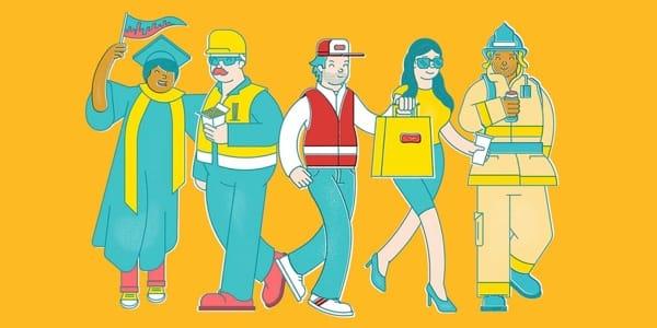 Lieferservice: New York Charaktere illustriert von Emile Holmewood der Design Agentur BloodBros.