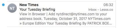 New Times nicht NYTimes in eingehenden Mails.