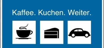 Autobahnschild Denzler Kaffee. Kuchen. Weiter