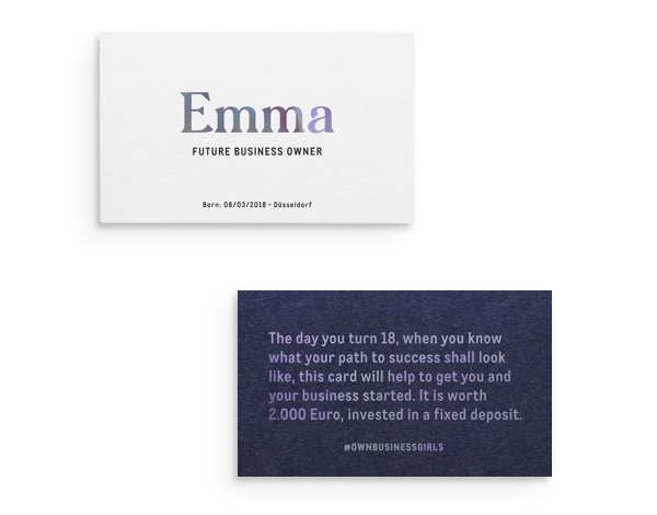 Die Geschäfts-Visitenkarte ist ein Ticket zu einer Festgeldanlage im Wert von 2000 Euro.