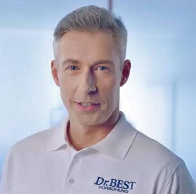 Die bekannte Werbefigur des Dr. Best wird von Havas, München gezielt weiterentwickelt und modernisiert.