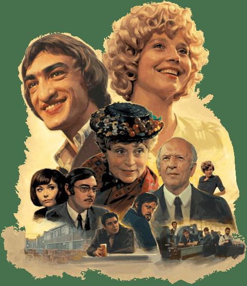 Das neue Filmplakat vom britischen Illustrator Sam Hadley als Persiflage auf den Stil der 70er Jahre zu Fassbinder's Fernsehserie von 1972.