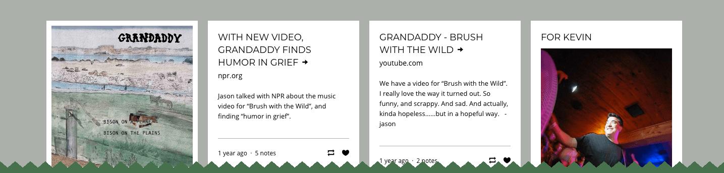 Übersichtliche Inhalts Voranzeigen (Container) verschiedenster Inhalte auf grandaddymusic.com wirken auf den Besucher aufgeräumt und erschliessen sich ihm  sofort.
