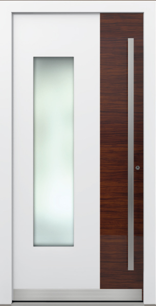AT 305 White and Wood Decor Aluminum Entrance Door with Glass Insert