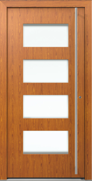 AT 305 Wood Decor Aluminum Entrance Door with Glass Insert