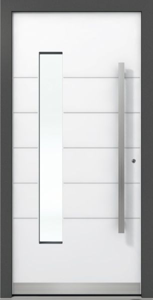 White Aluminum Entrance Door AT 310 with Glass Insert