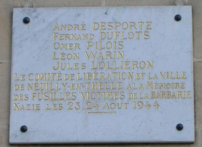 Plaque monument aux mort Neuilly-en-Thelle oise