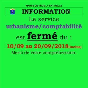 Fermeture du service urbanisme / compta