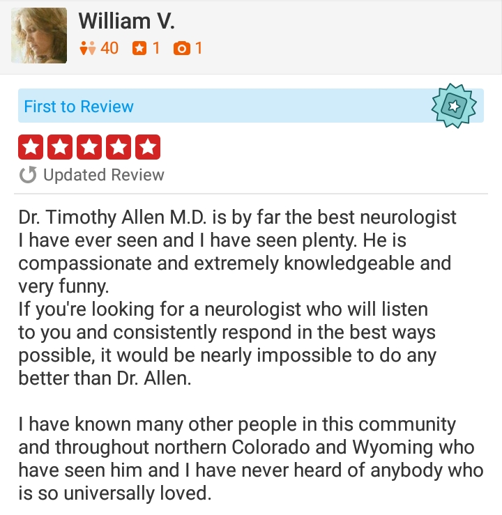 Yelp logo with 5 (five) stars - for neurologist Timothy Tim J. Allen, MD, Neurology Specialists of the Rockies, Cheyenne, Wyoming, Fort Collins, Colorado