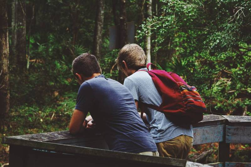 2 boys standing side to side lean on a wooden rail. The background is full of greenery indicating that the photo is set in a forest.