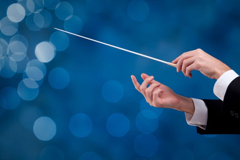 A pair of hands hold a conductor's wand as if directing a symphony