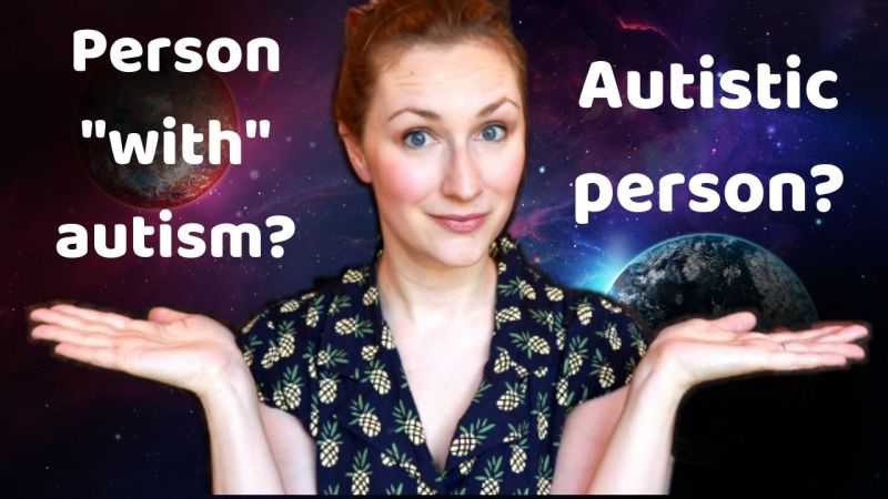 """Woman holding up two hands, with """"Person 'with' autism?"""" over one hand and """"Autistic person?"""" over the other."""